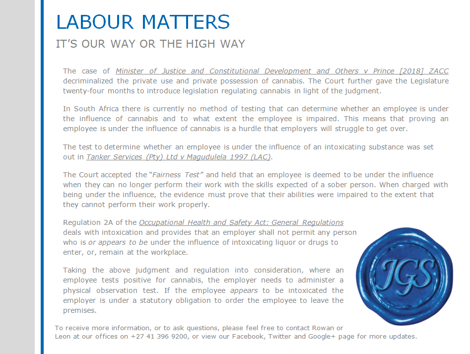 Labour Matters Our way or the high way
